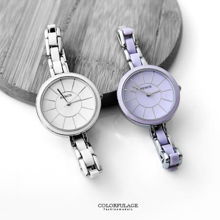 手錶 小資女孩簡約線條刻度設計腕錶 仿陶瓷細版錶帶 氣質女孩專屬 柒彩年代【NE1574】秀氣款