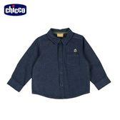 chicco-城市系列-緹織點點長袖襯衫-青