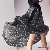 【SHOWCASE】條紋蝴蝶印花前短後長雪紡波浪裙(黑)