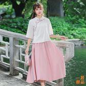古風女裝民國風女裝中式裝中國風復古文藝伴娘服連身裙古風漢服女改良