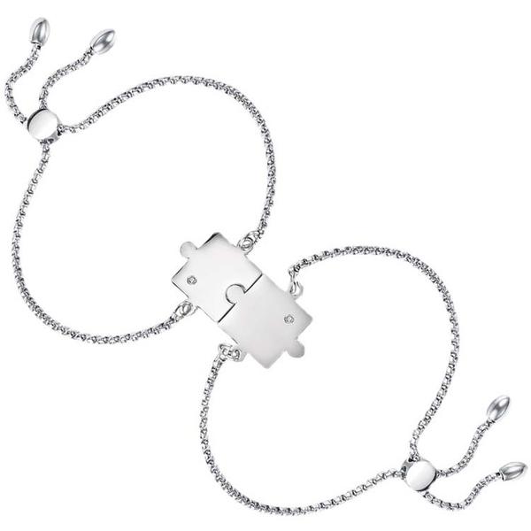 【5折超值價】鈦鋼手鍊時尚姊妹款拼圖情侶款對鍊-(一對價)