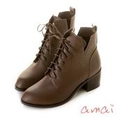 amai《Olivia奧麗薇亞》率性綁帶V口高跟短靴 淺咖