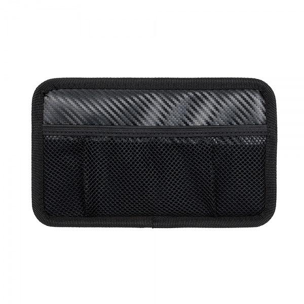 車之嚴選 cars_go 汽車用品【Fizz-1109】日本NAPOLEX 碳纖紋多功能黏貼式車內便利置物收納網袋