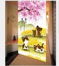 【櫻花樹下貓咪一家】 日本門簾 出口掛簾日式門簾一片式 寬85長150 日式布藝印掛廉