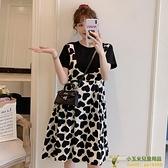 洋裝連身裙哺乳衣孕婦夏裝時尚款甜美假兩件中長款外出喂奶連衣裙品牌【玉米】