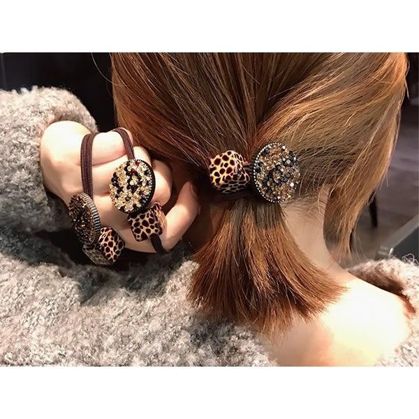豹紋方塊圓盤時尚彈力髮繩(1入)【小三美日】髮飾/款式隨機出貨