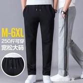 男士春季運動褲直筒休閒長褲子加絨衛褲寬鬆加大碼夏季薄款男胖子『潮流世家』