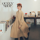 Queen Shop【01084596】澎袖半開襟排釦洋裝 兩色售*現+預*