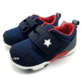 《7+1童鞋》小童 日本月星 MOONSTAR 透氣網布 機能鞋 運動鞋 學步鞋 C497 藍色