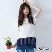 Victoria  異材質拼接長版短袖T-男-白色