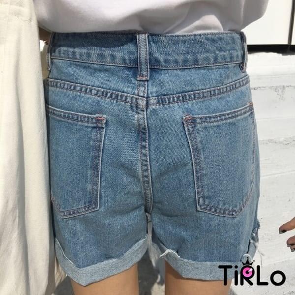 牛仔短褲 -Tirlo-推薦!不修邊捲邊牛仔短褲-兩色/SML(現+追加預計5-7工作天出貨)