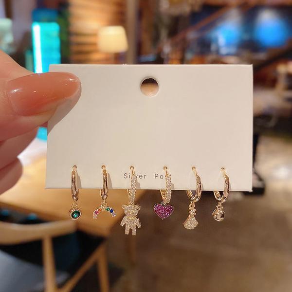 韓國ins森系小熊愛心一周組合套裝耳環女 百搭氣質精致小耳釘耳圈
