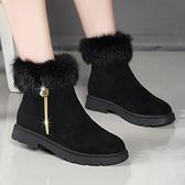 裸靴 短靴女鞋2021年新款棉鞋秋冬季加絨短筒百搭踝靴冬鞋裸靴平底磨砂 霓裳細軟