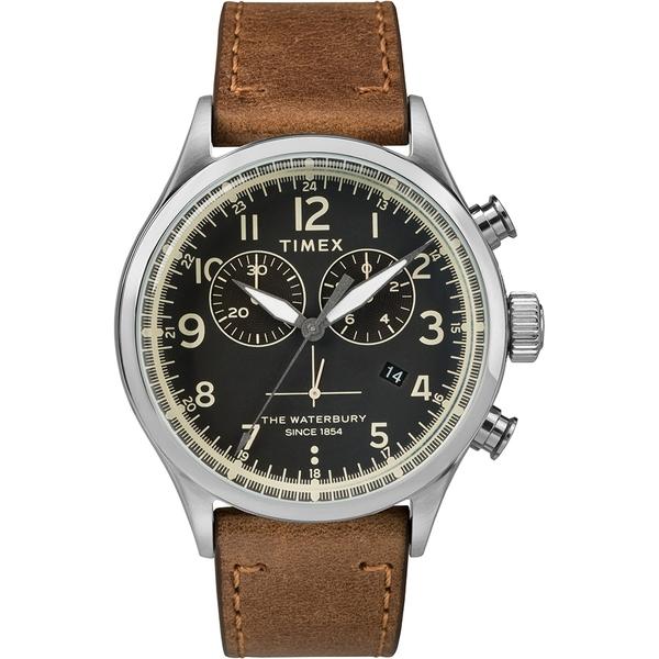 【TIMEX】天美時 Waterbury系列 雙眼計時手錶(黑/棕色TXTW2R70900)