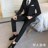 西裝套裝三件套韓版修身西裝伴郎新郎結婚禮服正裝英倫潮zzy3819『伊人雅舍』