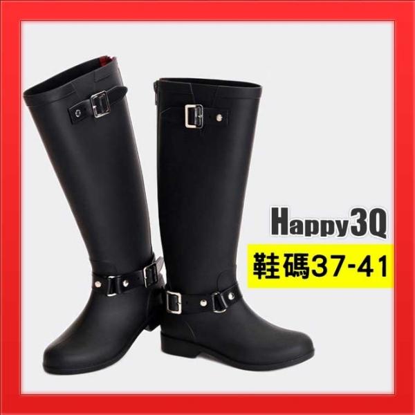 【火速出貨】防水長靴 長筒靴 雨靴 雨鞋 後拉鍊 馬靴時尚雨靴防水軍靴雨天-黑40.37【AAA2193】
