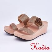 kadia.閃耀花朵滿鑽寬版厚底拖鞋(9106-28棕色)
