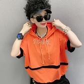 新款短袖女夏季網紅百搭時尚連帽短袖T恤女韓版個性潮流寬鬆上衣