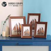 美式5寸7寸8寸10寸木質客廳創意組合相框擺台書房臥室床頭櫃擺設   居家物語