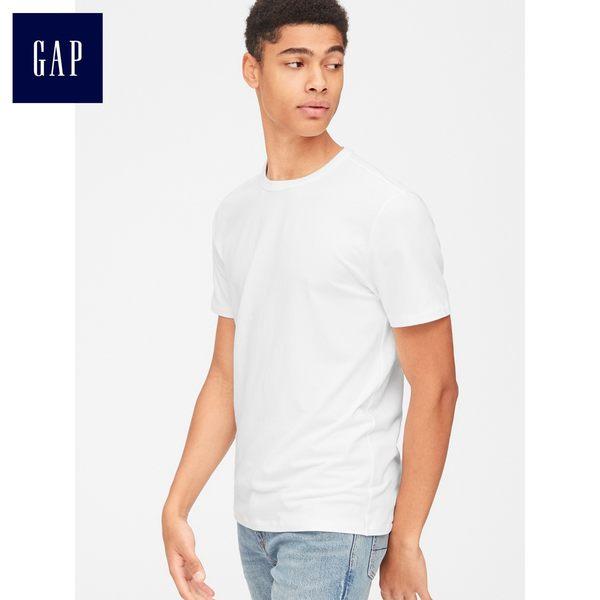Gap男裝 基礎款簡約圓領短袖T恤 男士時尚休閒上衣夏季 440670-光感白