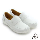A.S.O 護士鞋 牛皮直套式休閒鞋-白