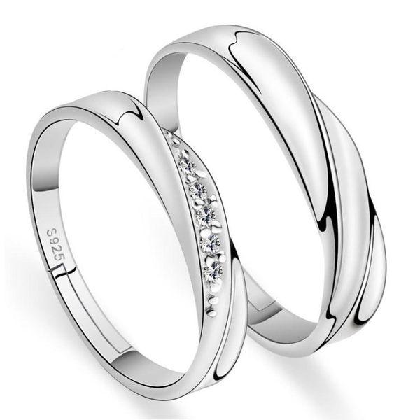 韓版鍍銀開口男女通用戒指 簡約鑲鑽情侶活口對戒《小師妹》ps520