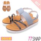 涼鞋-TTSNAP 閃亮緞帶牛皮平底涼鞋...