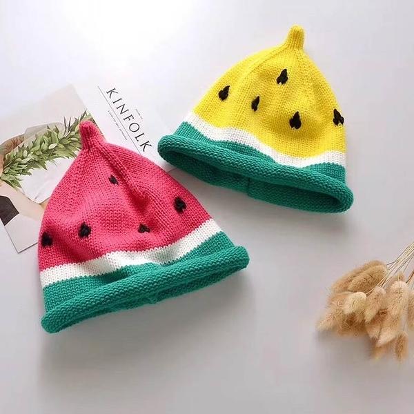 [新年戴新帽]毛帽 毛球帽 針織帽 寶寶 保暖帽 造型帽 西瓜帽 可愛西瓜造型 (約1-4歲) 【JD0055】