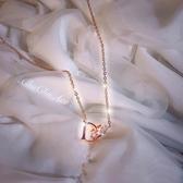 鈦鋼不褪色項鏈女潮網紅ins冷淡風小眾品牌設計感簡約字母鎖骨鏈