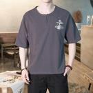 中國風亞麻短袖t恤男寬鬆帥氣潮流夏刺繡復古中青年社會胖子上衣 快速出貨