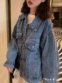 初秋牛仔夾克外套女寬鬆嘻哈韓版流行潮OVERSIZE工裝上衣復古 伊莎公主