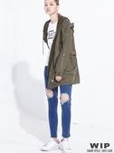 【2%】WIPX2% 抽繩雙層連帽風衣外套_軍綠