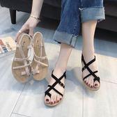 韓版時尚平底夾趾涼鞋夏 2018新款羅馬平底套腳趾百搭 學生女涼鞋