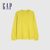 Gap男裝 純棉寬鬆圓領長袖T恤 842332-黃色
