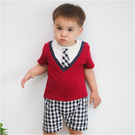 短袖連身衣 假兩件 格紋 學院風 男寶寶 爬服 哈衣 Augelute Baby 42178