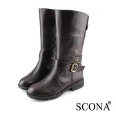 SCONA 蘇格南 全真皮 經典百搭皮帶扣環中筒靴 咖啡色 8783-2