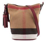 【BURBERRY】格紋棉麻混紡斜背水桶包(駝/紅) 40204851