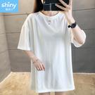 【V9194】shiny藍格子-百搭元素.純色圓領寬鬆中長袖上衣
