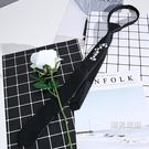 新款領帶男花紋刺繡休閒韓版4cm正裝職業窄版黑色個性配飾 聖誕交換禮物