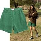 休閒短褲 韓國東大門新款高腰燈芯絨短褲女寬鬆直筒休閒寬管褲子 格蘭小鋪