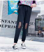 新款束腳運動褲學生網紗鏤空破洞哈倫褲九分寬鬆bf休閒褲潮