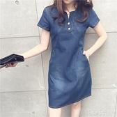 牛仔洋裝 2020夏季女裝韓版新款寬鬆大碼包臀A字短裙氣質短袖牛仔洋裝潮 茱莉亞