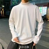 秋季新款長袖T恤男韓版潮流半高領體恤純白色休閒寬松打底衫 快速出貨