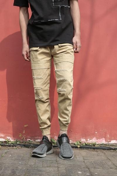 FINDSENSE MD 時尚 男 街頭 磨邊 寬鬆 個性撞色拼色 牛仔短褲 休
