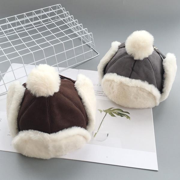 兒童冬帽 冬季寶寶帽子加絨雷鋒帽兒童麂皮絨護耳帽潮男童保暖帽嬰兒毛球帽 歐歐