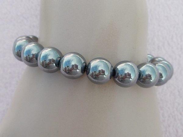 【歡喜心珠寶】【人造鈦赫茲圓珠10mm能量手鍊】19顆.重約25g「附保証書」日本最流行能量手鍊