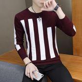 針織衫男士套頭毛衣男外套學生青少年個性豎條紋衫