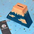 富士山 皮革 存錢箱 貯金箱 撲滿 日本帶回