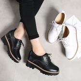 秋季真皮內增高鞋 厚底小皮鞋鬆糕休閒鞋【多多鞋包店】z3587