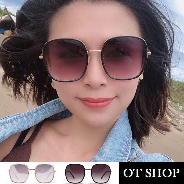 OT SHOP太陽眼鏡‧歐美韓系復古方框顯小臉特大框時尚抗UV400墨鏡‧黑色/反光透明紫灰‧現貨‧U116